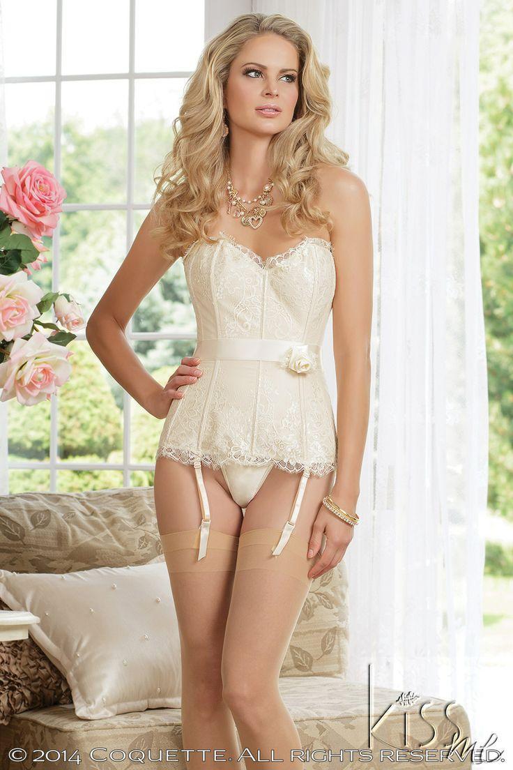 Y Coquette Satin Eyelash Lace Bustier Bridal Corset Plus Size Too