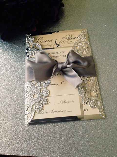 Sample Metallic Doilies Wedding Invitation Suite With Ribbon Bow