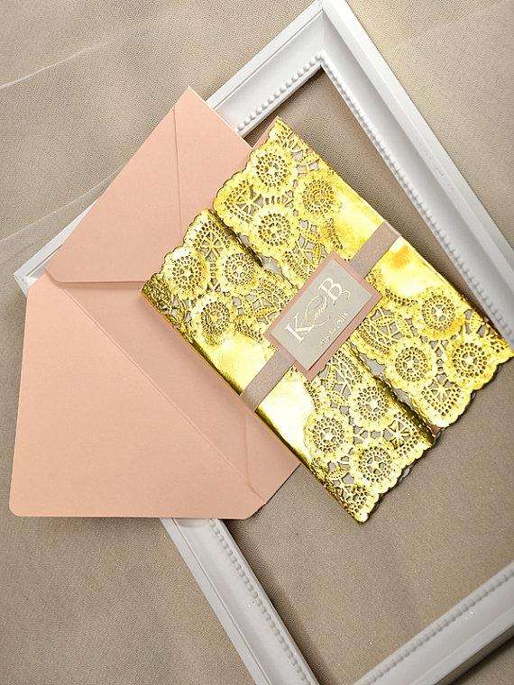 Custom Listing 20 Gold And Peach Wedding Invitation Lace Invitations Glamour Inviation New