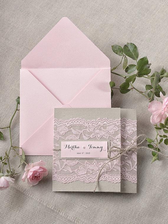 Custom Listing 100 Rustic Lace Invitations Pink Wedding Invitation Pocket Fold New
