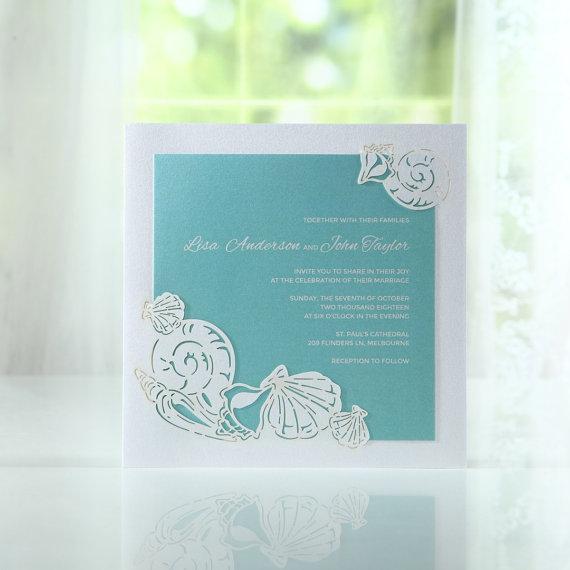 Ocean Frame I Laser Cut Bh3667 Wedding Invitation Sample New