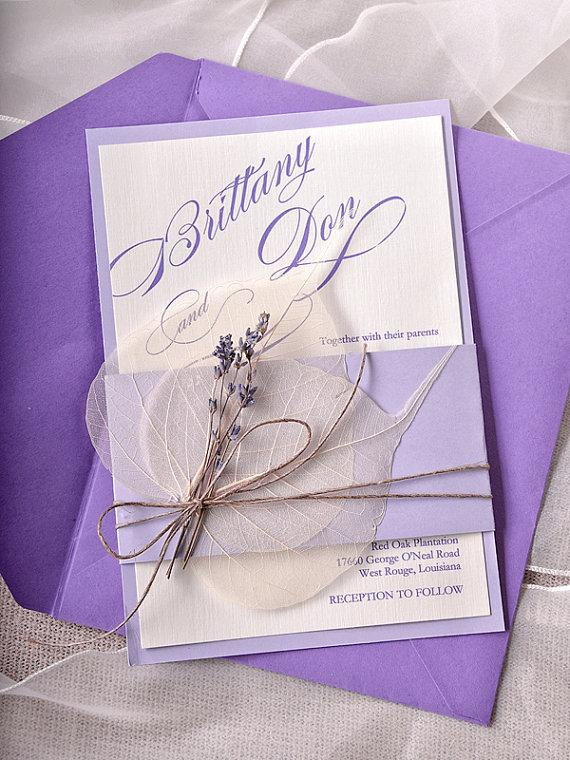 Custom Listing 100 Lavender Wedding Invitations Cards