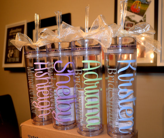 One Personalized Tumbler Bridesmaid Favor Wedding Gift Bridal Party Bachelorette Teacher New